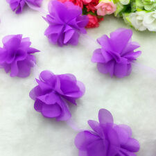 New Hot 1 Yard Purple Flower Chiffon Wedding Dress Bridal Fabric Lace Trim