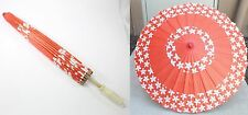 "23"" Inch tall Red-Orange Cherry Blossom Wood Paper Parasol Umbrella Decoration"