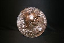 ancienne grande plaque applique murale Gallia Louis Bottée bronze fin XIX ème