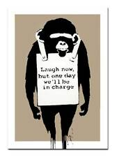 BANKSY- MONKEY `laugh Now' QUALITY CANVAS PRINT - Street Poster -tan