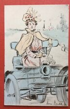 CPA. Illustrateur Henri BOUTET. Serie 14. En Automobile. N°80. Femme.