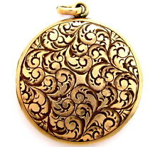 OLD ANTIQUE VICTORIAN CHASED FLORAL PHOTO LOCKET ROSE GOLD FILLED PENDANT *E273