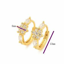 Stunning 18K Yellow gold filled crystal Crystal Womens Hoop Earrings