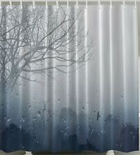Rain SHOWER CURTAIN Weather Clouds Storm Woods Forest Trees Fabric Bath Decor