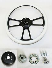 "60-69 Chevy Pick Up Truck Steering Wheel White and Black Spokes 14"" Bowtie Cap"