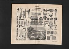 Lithografie 1897: Pfahlbauten. Pfahl Bauten Architektur Holz Häuser Haus Hütte