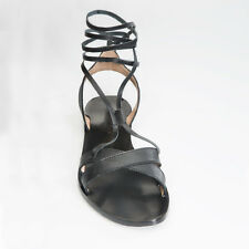 Lace up black leather sandals - Ancient Greek style - size 8