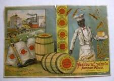 Victorian Advertising Trade Card Washburn Crosbly Mills Minneapolis Black Baker
