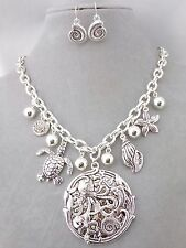 Silver Ocean Theme Necklace Earring Set Octopus Turtle Shell Fashion Jewelry New