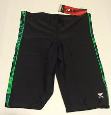 TYR Mens Jammer Swimsuit Size 36 Black Green Compression Lycra Competition NEW
