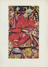 """1963 Vintage """"DEDICATED TO MY FIANCEE"""" MARC CHAGALL COLOR Art Plate Lithograph"""