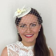 VINTAGE IVORY CREAM ORCHID VEIL HAT HEADPIECE FASCINATOR WEDDING RACES BRIDAL 40