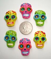 6PC DAY OF DEAD SUGAR SKULL DIA DE MUERTOS FLATBACK RESINS 4 HAIRBOW BOW CENTER