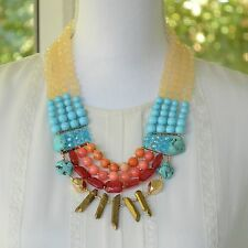 Red Orange Blue Turquoise Gold Natural Stone Ivory Chunky Statement Necklace