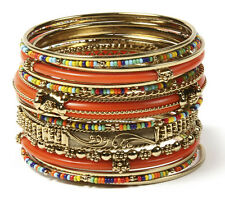 NWT Amrita Singh Gold Monaco Coral Multi Carved 16 Bangle Bracelet Set BBAS 834