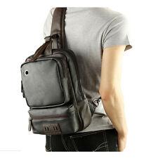 Men's Black Leather Shoulder Bag Laptop Backpack Hiking Sling Bag Large Bookbag