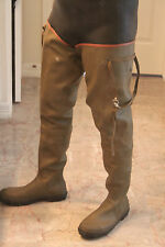 "34"" Very Tall French Au Coq Green Rubber Hip Waders US 12 UK 11 EU 46 Watstiefel"