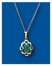 "Yellow Gold Real Emerald Cluster Pendant With 18"" Chain  UK Made Hallmarked"