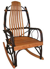 HICKORY OAK Bentwood Rustic Rocker Natural Stain Amish quick ship