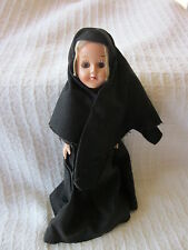 "Doll Nun in Black Habit 7"" tall Moveable Sleepy Eyes ~ EXCELLENT"