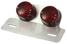 Motorcycle Rear Light - Twin Round - Chrome with Stop/Tail - universal