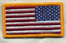 US Army American Flag Military Uniform Color Patch Reverse Side W/Hook Back