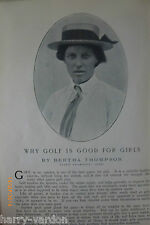 Why Golf is Good for Girls Bertha Thompson Lady Champion 1905 Golf Photo Article