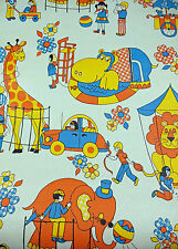 Vtg. 1970's Childrens Zoo/Circus Wallpaper Roll Wall-Kover 57 sq. ft. Ships Free