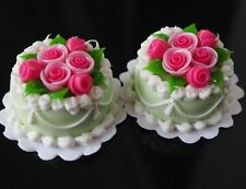 Dollhouse Miniature 2 Mini Wedding Green Round Cakes Pink Roes Top Food Sweet