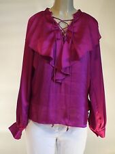 New Anne Klein Top Blouse Shirt Magenta Long Sleeve Size S $99