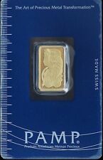 PAMP Suisse Swiss Gold Bar 5 Grams 999.9 Fine Certified Essayeur Fondeur 4540