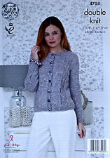 KNITTING PATTERN Ladies Long Sleeve Cable Cardigan Galaxy DK King Cole 4758