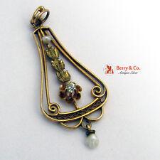 Art Nouveau Lavalier Pendant 10 K Gold Baroque Pearl Diamond