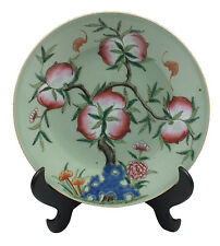 Signed 19thC Chinese Porcelain Charger  w/ Peach Tree