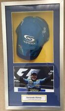 Fernando Alonso Hand Signed F1 Cap & Photo Renault Mild Seven With COA Framed