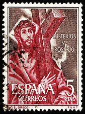 ART PRINT POSTAGE STAMP SPAIN 5 PESETAS JESUS CHRIST CROSS CRUCIFIXION LFMP0148