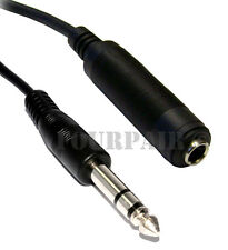 "25ft 1/4"" 6.35mm Stereo Male to Female Extension Audio Amp Guitar TRS Cable Cord"