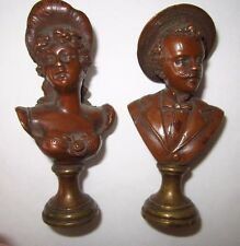 Pair Antique Bronze Bust Wax Seal Stamps Victorian Man & Lady -no monogram-