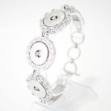 SNAP BRACELET Silver Interchangeable Jewelry Snaps 18mm Metal Fits Ginger Snaps