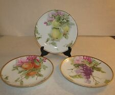 (3) Rosenthal R.C. Kronach Germany Porcelain Plates Fruit Grapes Apples Peaches