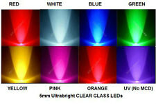 100x 3mm 5mm LED Red White Blue Green Yellow Orange Pink UV *USA