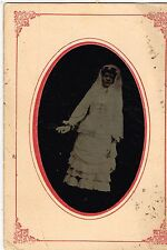 Young Lady Dressed All In White and White Golves and Vail 1870's Tintype