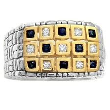 Philip Andre 18K Gold & Sterling Silver Diamond & Sapphire Men's Ring, size 9
