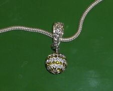 STERLING SILVER PLATED NECKLACE WITH GREEN SWAROVSKI DISCO BALL PARTY!!!!