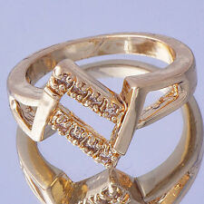 cute Fancy Womens 14K Gold Plated Clear crystal Ring jewelry Size 5