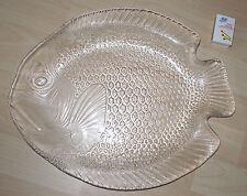 ARCOROC GLAS GROSSE FISCHPLATTE FISCHTELLER SUSHI SERVIERTELLER 39 cm 70er (H15)