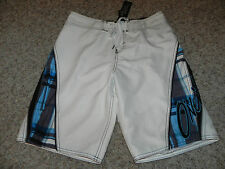 O'NEILL MENS SWIM CASUAL BOARD SHORTS SZ 30 WHITE BLUE BLACK MESH LINING NWT