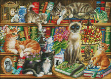 Needlework Crafts Full Embroidery DIY Counted Cross Stitch Kits Cats in Books