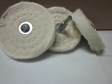 "LOT OF ~ 3 ~ COTTON CLOTH 3"" BUFFING / POLISHING WHEEL 1/4"" SHANK FOR DRILL TOOL"