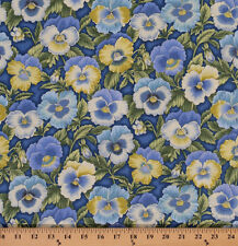 Cotton Pansies Pansy Flowers on Periwinkle Cotton Fabric Print by Yard D779.16